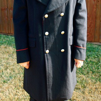 Vintage Navy-Blue Wool Military Coat - Military and Wartime
