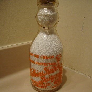 "WATKINS FARM DAIRY ""COP THE CREAM"" MILK BOTTLE...WESTMINSTER VERMONT - Bottles"