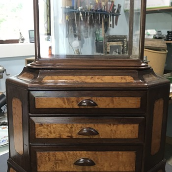 Antique Jeweler's Table Top Safe Display Case - Advertising