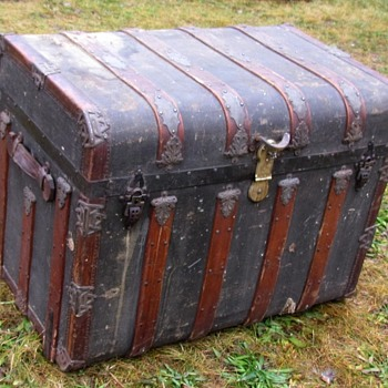 "34"" 1880's Romadka Brothers ""Overland"" Leather bound Canvas Trunk - Furniture"