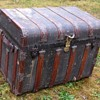 "34"" 1880's Romadka Brothers ""Overland"" Leather bound Canvas Trunk"