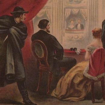 Assassination Of President Lincoln Antique Colored Print Ford's Theater
