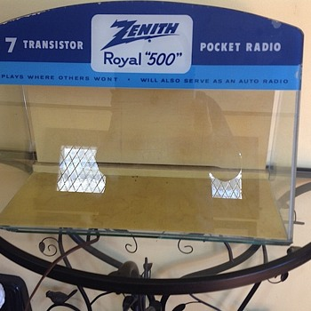 Zenith Radio Point of Sale Display case, lighted, painted glass