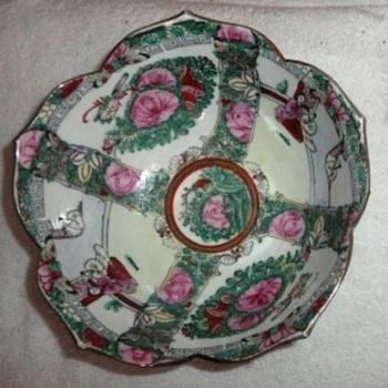 Asian Lotus Rose Medallion Bowl