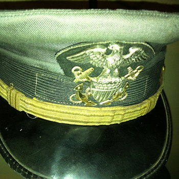"""""""Service dress gray""""  US naval officer's combination cover."""