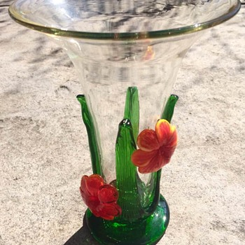 Clear vase Orange Flower: Celebration Brand - Art Glass
