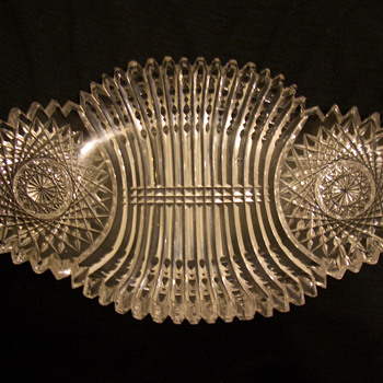 "Another un-named--Crystal Olive Dish.  Bergen Glass ""Prism"" - Glassware"