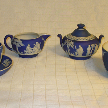 Wedgwood Blue Jasperware. Cup, Saucer, Bowl, Sugar and Creamer