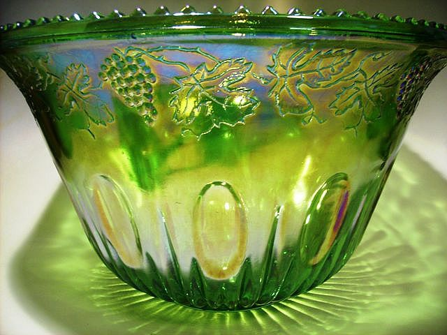 Carnival Glass Indiana Green Carnival Glass Princess Punch Bowl