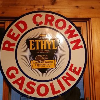 Red Crown Ethyl Porcelain Sign - Petroliana