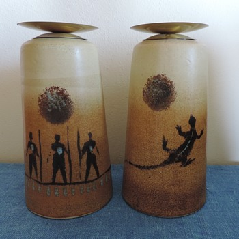 Large heavy duty stoneware candle holders - Pottery