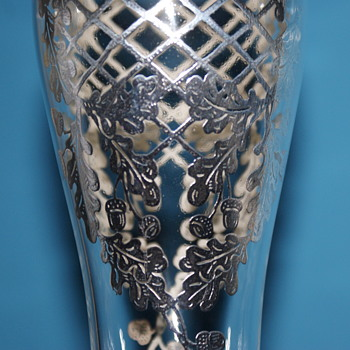 Vintage Glass Vase with Silver Overlay - Art Glass
