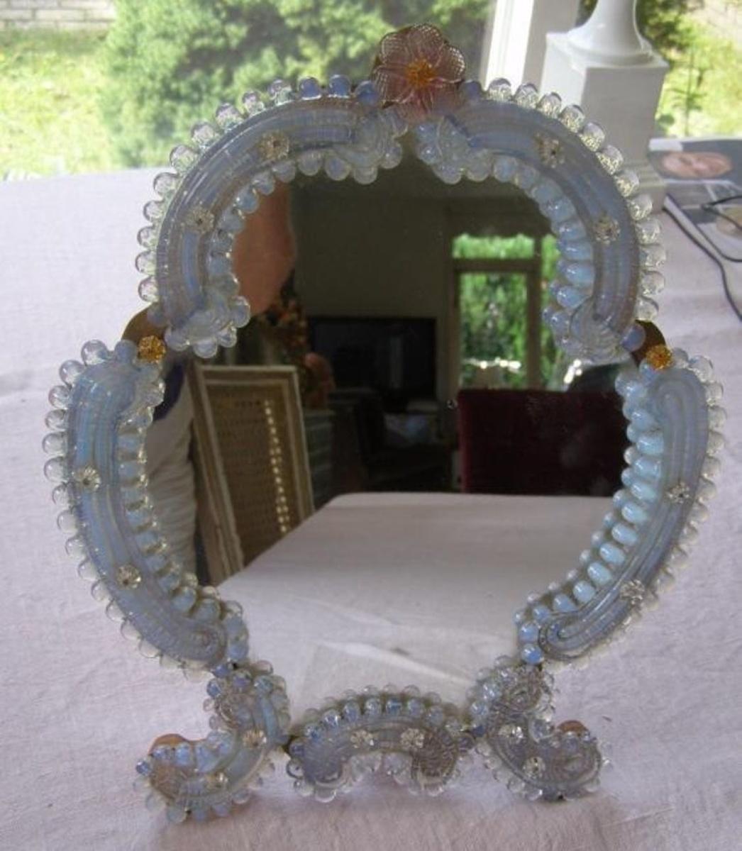 Beautiful Vintage Italian Venetian Murano Glass Vanity Dresser Tabletop Mirror Collectors Weekly