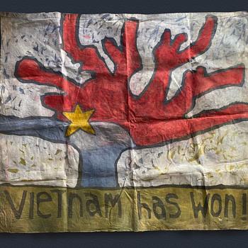 1960's San Francisco VIETNAM HAS WON Hand Painted Protest Flag - Folk Art