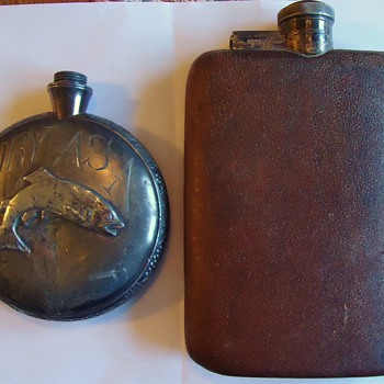 Vintage Flask, silver plate,  English and? - Silver