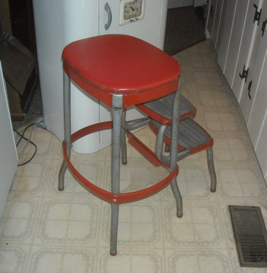 Wondrous Vintage Cosco Kitchen Folding Step Stool With Bo Back Cjindustries Chair Design For Home Cjindustriesco