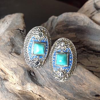 Art Deco Marcasite Sterling Enamel Earrings