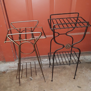 two old wire telephone stands - Mid-Century Modern