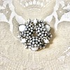 Schreiner Signed Milk Glass and Clear Rhinestone Japanned Brooch