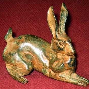 Pierre Chenet Bronze Crouching Hare Sculpture - Animals