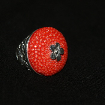 Sterling and Shagreen Ring Made in Thailand - Fine Jewelry