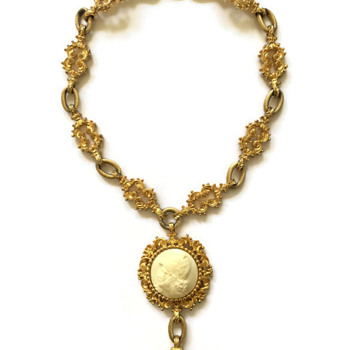Vintage Nettie Rosenstein Ornate Cameo Fob Necklace - Costume Jewelry