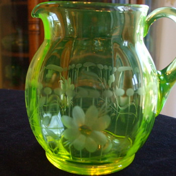 Yellow Paneled VASELINE PITCHER by Whom? Cutting pattern? - Glassware