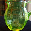 Yellow Paneled VASELINE PITCHER by Whom? Cutting pattern?