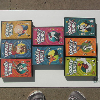 LARGE BLACK BOX TAPES, 11 LOONY TUNES,/ 12  VINTAGE CARTOONS EACH BOX