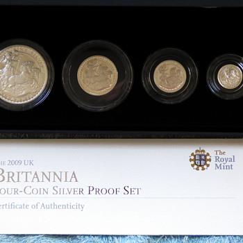 2009-royal britannia 4 coin solid silver set-the royal mint.