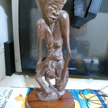 2 hand carved wooden statues - Fine Art
