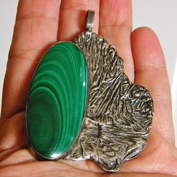 "Vintage Handmade Malachite Sterling Silver Pendant Cuff Bracelet ""O'rhern""??? - Fine Jewelry"