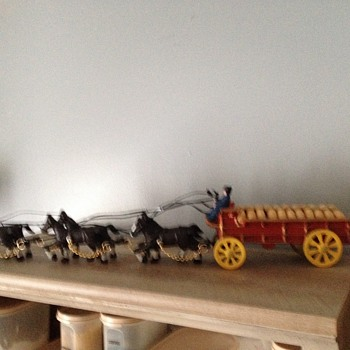 Clydesdales with Budweiser wagon and wooden kegs - Breweriana