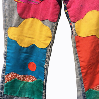 1960s - Early 70s Colorful Lee Hippie Patchwork Denim Men's Bellbottom Jeans  - Mens Clothing