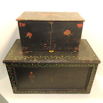 Amish Blanket Chest (20th century) & Amish Document Box (late 19th century) - Furniture