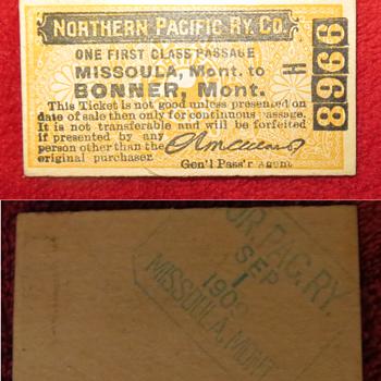 1909 first class Railroad ticket