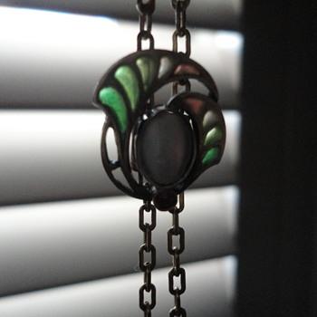 Jugendstil plique-a-jour enamel slide necklace, Germany c. 1900 - Fine Jewelry