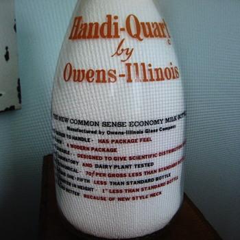 "OWENS-ILLINOIS ""HANDI-QUART"" SALESMAN SAMPLE MILK BOTTLE - Bottles"