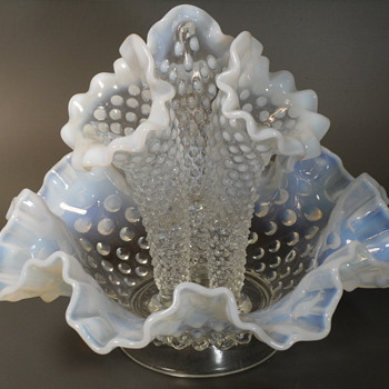 Fenton White Opalescent Epergne - 3 Horn - Art Glass