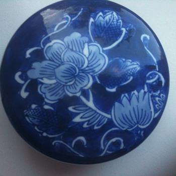blue white circular box - Pottery