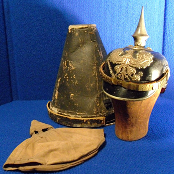 Item image	 WWI LEATHER GERMAN PICKELHAUBE SPIKED PRUSSIAN HELMET  - Military and Wartime