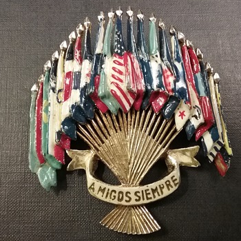 Coro WW2 Emblem of the Americas brooch - Costume Jewelry