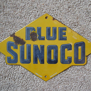 Original 1940's Sunoco Porcelain Pump Sign - Petroliana