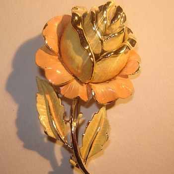 Vintage Enamel Rose Brooch by Jewel Craft - Costume Jewelry