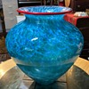 Blown Glass Blue Vase with a Red Lip