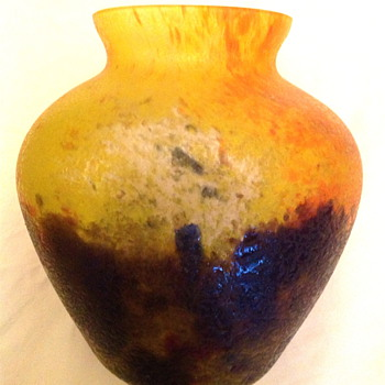 Czech : Chipped Ice / Glue Chip Yellow and Blue Oval Vase - Art Glass