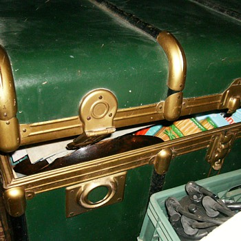 Old Bentwood  Trunk -- Green and Brass ?? - Furniture