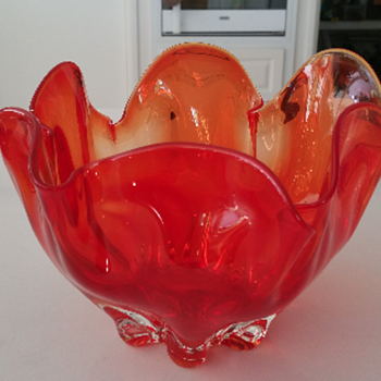 Huge Red Scalloped Art Glass Bowl