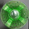 Green Glass Bowl with Leaf and Crackle Pattern?