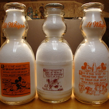 Milk Bottles With Walt Disney Character Designs..... - Bottles